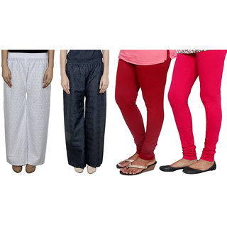 IndiWeaves Women Attractive Combo Pack offer 2 Chikan Palazzo with 2 Bio Wash Leggings (Set of 4)