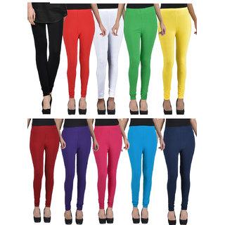 Kjaggs Pack Of 10 Multicolor Cotton Lycra legging -KTL-TN-1-2-3-4-5-6-7-8-9-10