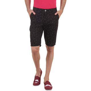Routeen Black Cotton Printed Shorts and 3/4ths for Men
