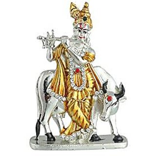 Odishabazaar Krishna With Cow Idol Car Dashboard For Gift