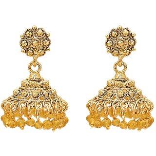 Kriaa Gold Plated Golden  Drop Earrings
