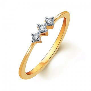 Tycarati Classic 0.08 Cts Diamond Studded Ring In 2.00Gms Yellow Gold Size 10