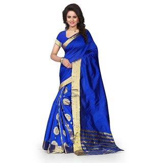 Kia Fashions haka bhagalpuri blue color saree