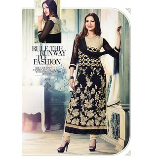 JSN Beige and Black Georgette Semi-Stitched Salwar Suits