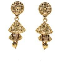 Kriaa Gold Plated Golden  Jhumki Earrings - 1307613