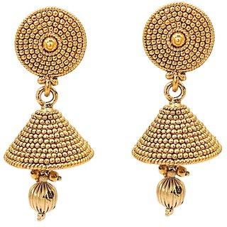 Kriaa Gold Plated Golden  Jhumki Earrings