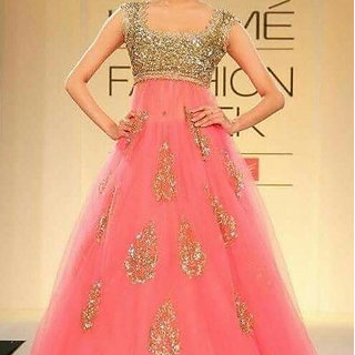 My Selection Fashion Women Bollywood Pink Color Heavy Ambroidary Net Blouse Famous Wedding Gown