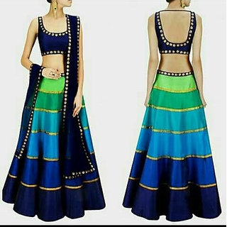 Generative Shoppe Women Blue Color Party Wear Embroidered Semi-Stitched Salwar Gown