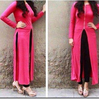 Pink Slit Kurti Tunic Witn Zip