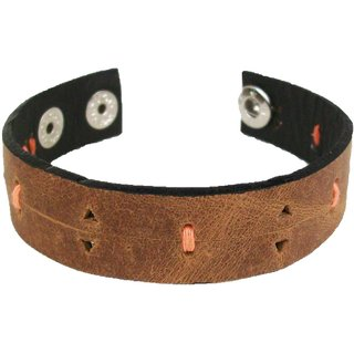 Sakhi Styles men's handmade genuine leather bracelet with threadwork adjustable size with metal stud closer.