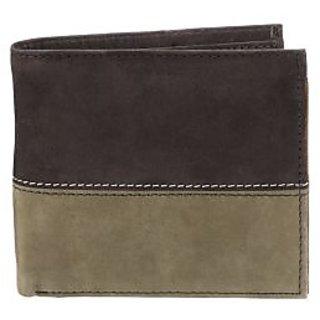 WalletsnBags Nubuck Dual Colour Mens Wallet - Black Olive Green (W 15 - BLKGR)