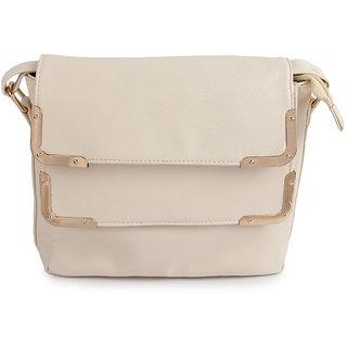 Kleio Double Flap Metal Corner Classy Sling bag (Beige) ESR200006KL-BE