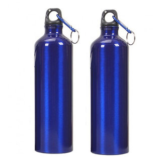 Tuelip Aluminium Durable Sports Sipper Water Bottle For College,School Bottle 750 ML With Carabiner (Pack of 2, Blue)