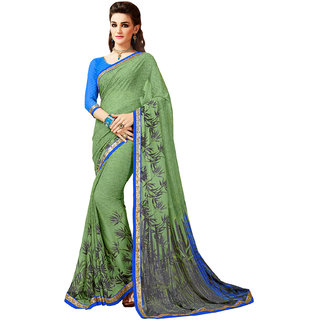Aesha Green Georgette Printed Saree