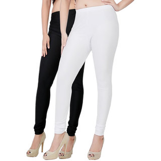 Fashion And Freedom Pack of 2 White And Black Satin Leggings