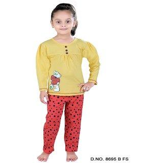 Punkster Yellow Cotton Full Sleeve Top  Pyjama Set For Girls-8695BFS-4