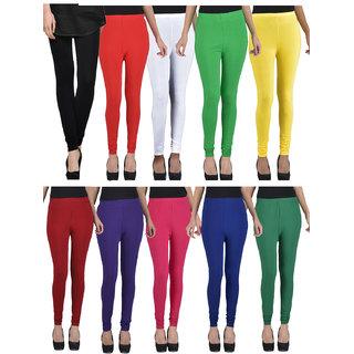 Kjaggs Pack Of 10 Multicolor Cotton Lycra legging -KTL-TN-1-2-3-4-5-6-7-8-14-15