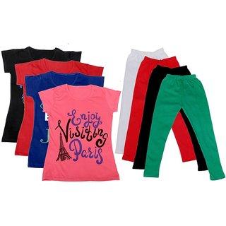 IndiWeaves Girls Cotton Leggings With T-Shirts(Pack of 4 Legging and 4 T-Shirts )BlackRedBluePinkWhiteRedBlackGreen30