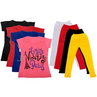 IndiWeaves Girls Cotton Leggings With T-Shirts(Pack of 4 Legging and 4 T-Shirts )BlackRedBluePinkWhiteRedBlackYellow30