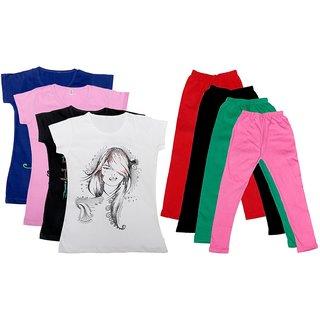 IndiWeaves Girls Cotton Leggings With T-Shirts(Pack of 4 Legging and 4 T-Shirts )BluePinkBlackWhiteRedBlackGreenPink30