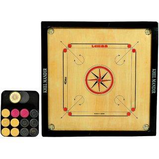 GSI Khel mandir Medium Size 4mm Gloss finish Carrom board with coins striker and powder