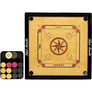 Gsi khel mandir club size 8mm gloss finish carrom board with coins striker and powder