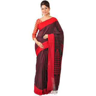Ruprekha Fashion Cotton black color handloom Saree with woven threadwork all over