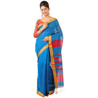Ruprekha Fashion Silk Cotton Bengal Handloom blue color saree with embeded sequin work