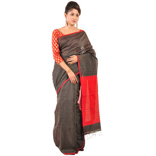 Ruprekha Fashion Silk Cotton black color Bengal handloom saree with red Pallu