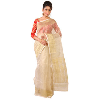 Ruprekha Fashion Pure Mulberry Silk Dhakai Jamdani Saree