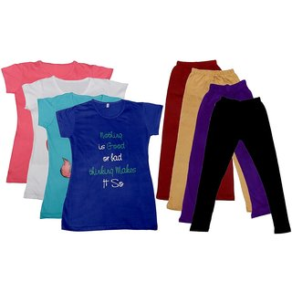 Indistar Girls Cotton Leggings With T-Shirts(Pack of 4 Legging and 4 T-Shirts )PinkWhiteBlueBlueMaroonBeigePurpleBlack30