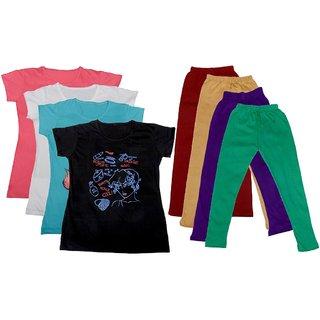 IndiWeaves Girls Cotton Leggings With T-Shirts(Pack of 4 Legging and 4 T-Shirts )PinkWhiteBlueBlackMaroonBeigePurpleGreen30