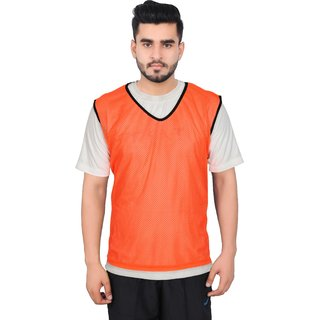 GSI Pack of 12 Orange Sports Bibs Pinnies Scrimmage vest for Soccer Cricket Track and Field Sport Teams