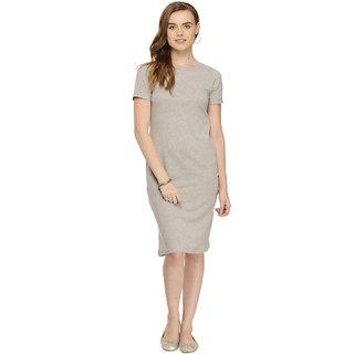 Rigo Grey Solid Knee length Half Sleeve Bodycon dress