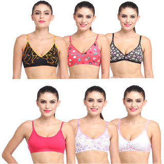 lime fashion combo of 6 bras for women's