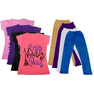 IndiWeaves Girls Cotton Leggings With T-Shirts(Pack of 4 Legging and 4 T-Shirts )PinkPurpleBlackPinkBeigePurpleWhiteBlue30