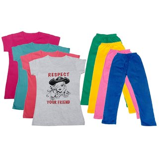 IndiWeaves Girls Cotton Leggings With T-Shirts(Pack of 4 Legging and 4 T-Shirts )PinkBluePinkWhiteGreenYellowPinkBlue30