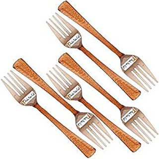 Set Of 6 Prisha India Craft High Quality Handmade Steel Copper Fork Length 7.00 Inches Copper Dinnerware Accessories- Diwali Gift With Handmade Wooden Keyring And Copper Cleaning Powder