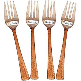 Set Of 4 Prisha India Craft High Quality Handmade Steel Copper Fork Length 7.00 Inches Copper Dinnerware Accessories- Diwali Gift