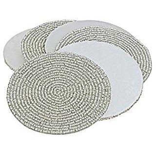 Prisha India Craft Set Of 6 Handmade Silver Beaded Tea Coasters - 4 Inch Placemats For Tea Cups - Set Of Drink Coaster Absorbent - Diwali Gift With Wooden Keyring