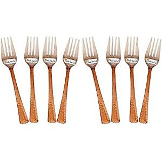 Set Of 8 Prisha India Craft High Quality Handmade Steel Copper Fork Length 7.00 Inches Copper Dinnerware Accessories- Diwali Gift
