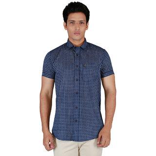 Integriti Half Sleeve Checkered Blue Men's Shirts