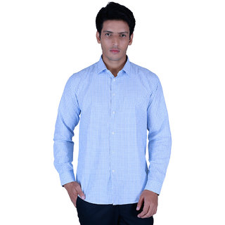 Integriti Full Sleeve Checkered Blue Men's Shirts