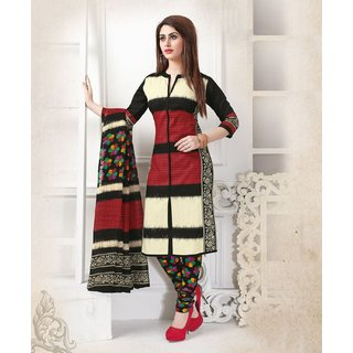 LADYVIEW MAROON, CREAM  BLACK PRINTED POLYCOTTON  DRESS MATEIRIAL
