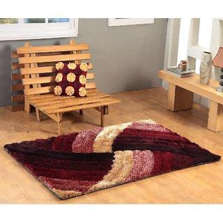 4D Polyester Shaggy Carpet - 5 feet X 7 feet, Multicolour