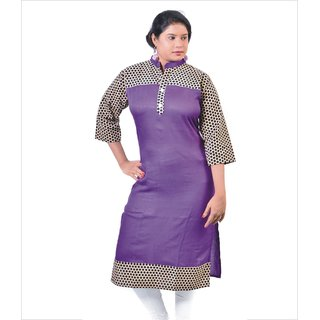 Glimmerra Rayon Solid purple Colour Long Kurti with Golden Polka Printed Border