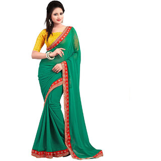 SuratTex Green Georgette Embroidered Saree With Blouse