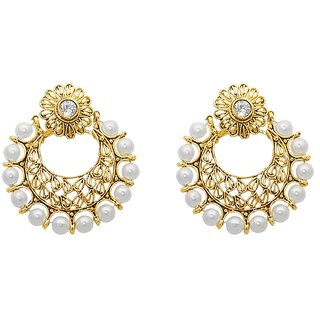 Kriaa Gold Plated White Pearl  Kundan Drop Earrings - 1307628