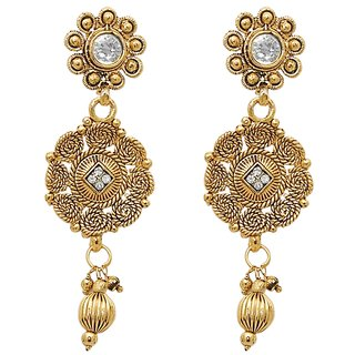 Kriaa Gold Plated White Austrian Stone Drop Earrings - 1307629
