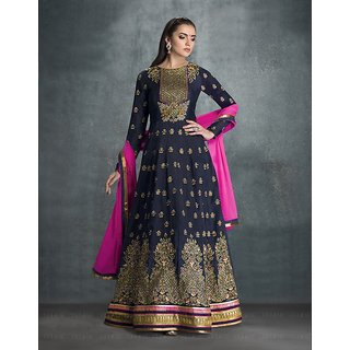 Ladyview Navy Blue  Beige Embroidered Faux Georgette Anarkali Suit